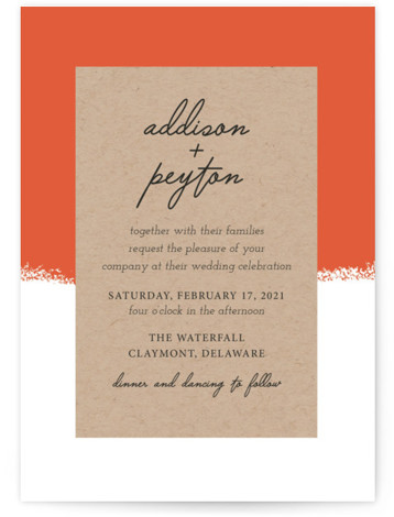 This is a orange wedding invitation by Faiths Designs called Joyfully Ever After with standard printing on signature in standard.