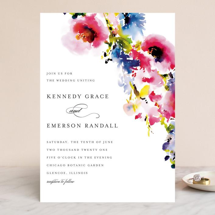 """Technicolor Flora"" - Wedding Invitations in Poppy by Angela Marzuki."