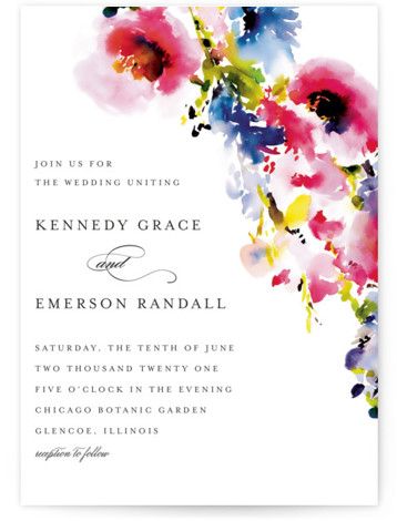 This is a pink wedding invitation by Angela Marzuki called Technicolor Flora with standard printing on signature in standard.