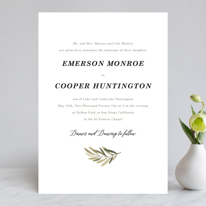 Olive branch wedding invitations by wildfield paper co minted olive branch wedding invitations in olive by wildfield paper junglespirit Gallery