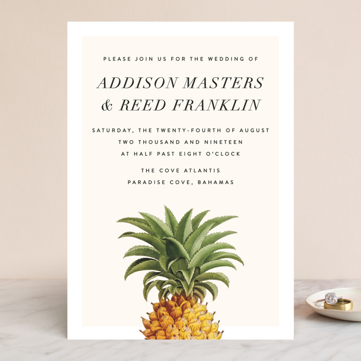 """""""Party in Paradise"""" - Wedding Invitations in Pineapple by Fig and Cotton."""