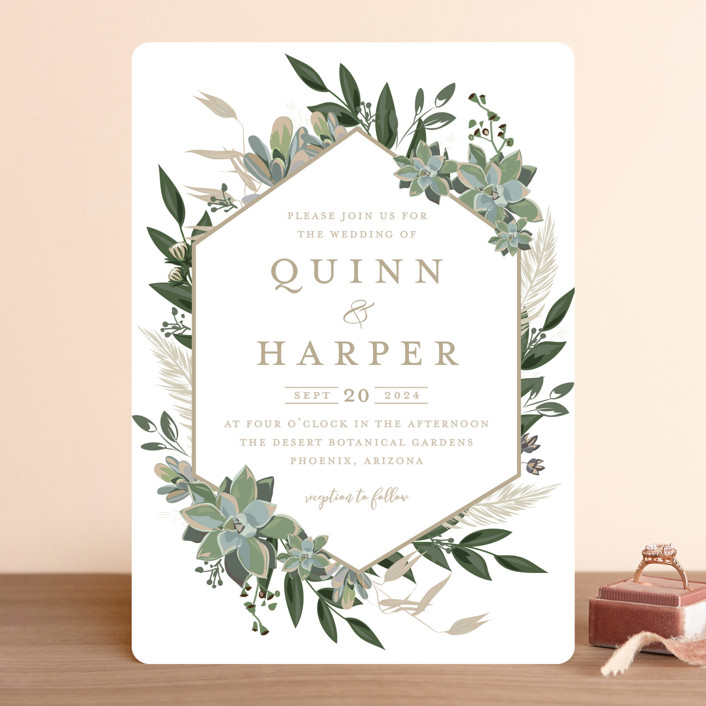 """""""Succulent Surround"""" - Wedding Invitations in Cloud by Susan Moyal."""