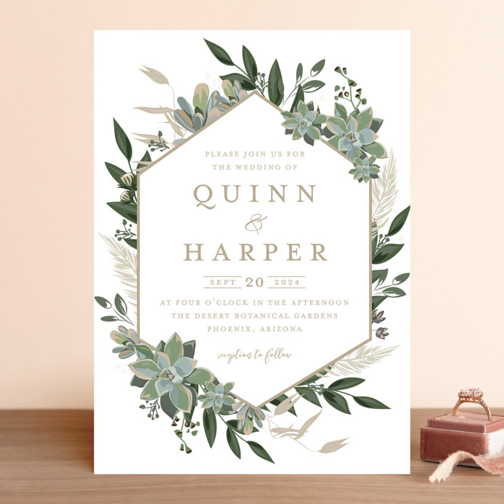 """Succulent Surround"" - Wedding Invitations in Cloud by Susan Moyal."