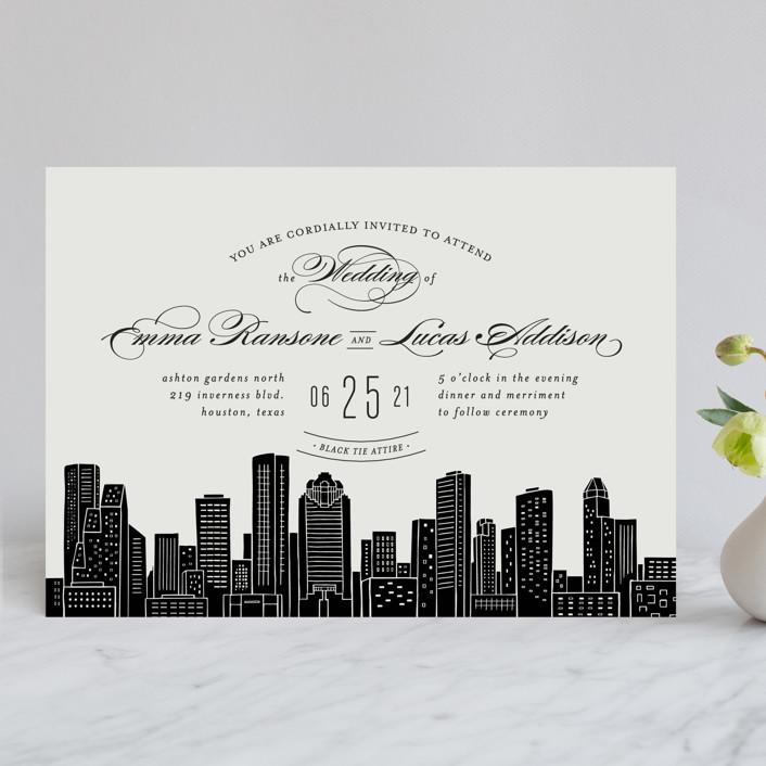 """Big City - Houston"" - Wedding Invitations in Light Taupe by Hooray Creative."