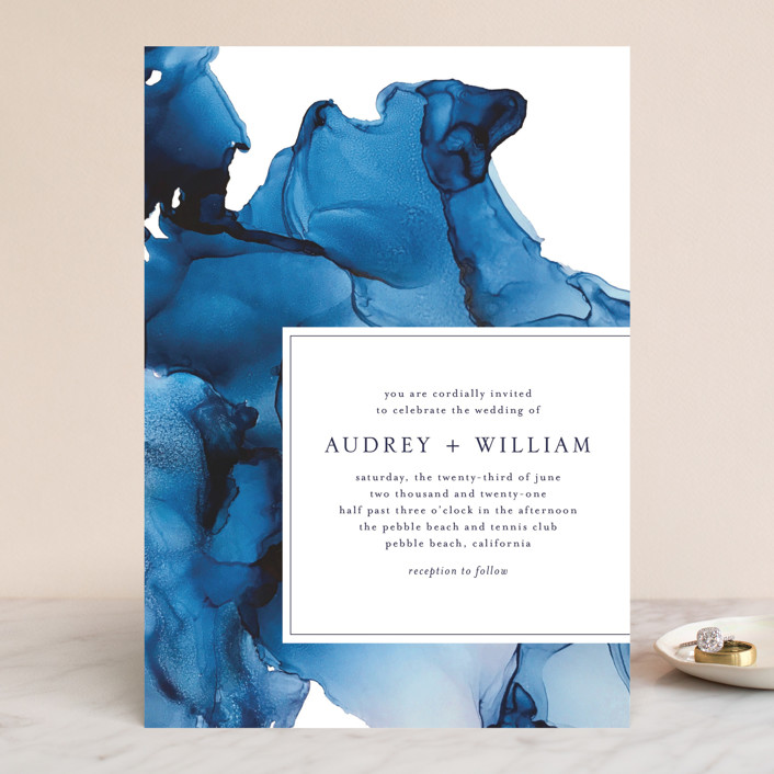 """blue tides"" - Wedding Invitations in Sea Blue by Erin Deegan."