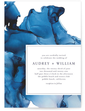 This is a blue wedding invitation by Erin Deegan called blue tides with standard printing on signature in standard.