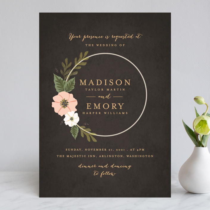 """Floral Ring"" - Wedding Invitations in Charcoal by Karidy Walker."