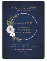 This is a blue wedding invitation by Karidy Walker called Floral Ring with standard printing on signature in standard.