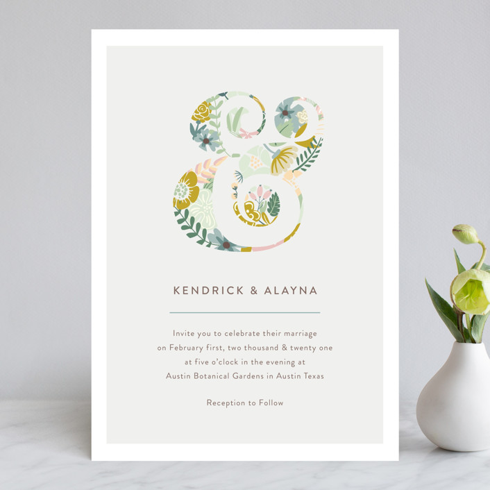 """Floral Ampersand"" - Wedding Invitations in Mustard by Hanna Mac."