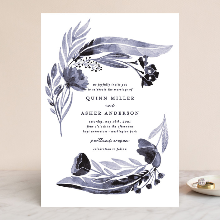 """feathers & florals"" - Bohemian Wedding Invitations in Dusk by Olivia Raufman."