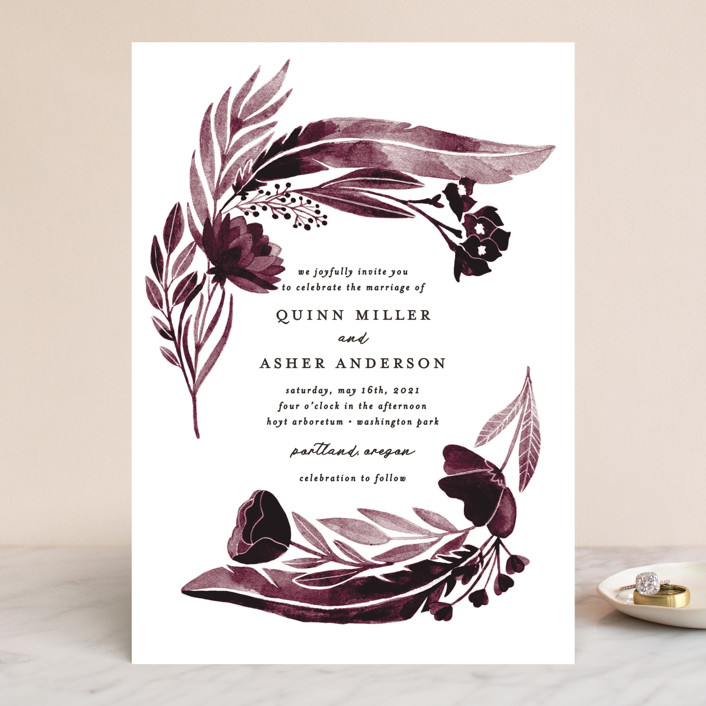 """""""feathers & florals"""" - Bohemian Wedding Invitations in Dusk by Olivia Raufman."""