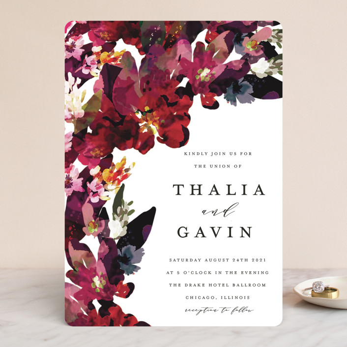 """Tidal Blooms"" - Wedding Invitations in Holly by Grace Kreinbrink."