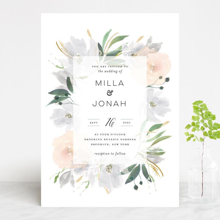 """Grande Botanique"" - Wedding Invitations in Mist by Bonjour Paper."