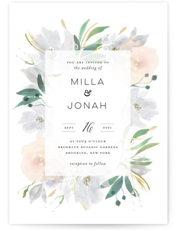 This is a grey wedding invitation by Bonjour Paper called Grande Botanique with standard printing on signature in standard.