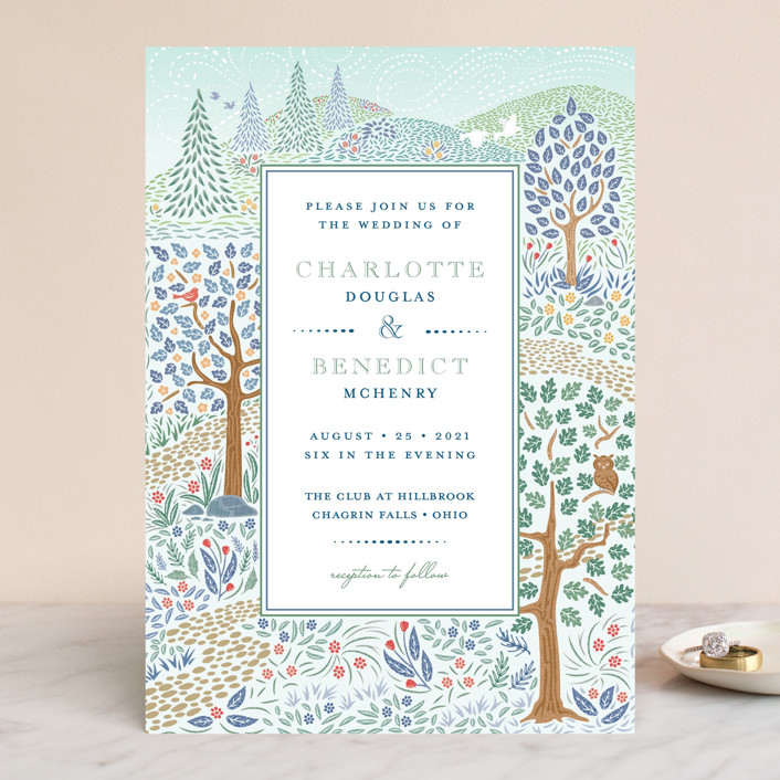 """Woodland Garden"" - Wedding Invitations in Daybreak by Paper Sun Studio."