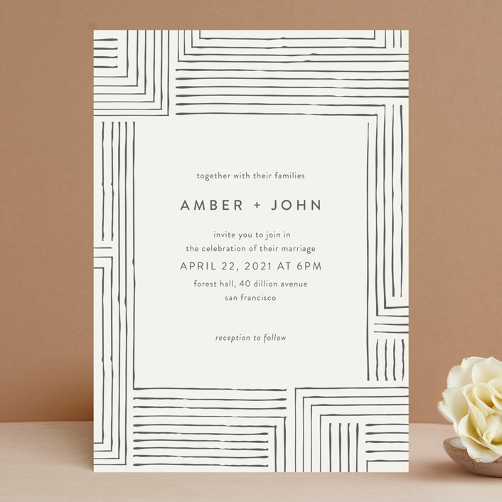 """Pattern Play"" - Wedding Invitations in Pebble by Seven Swans."