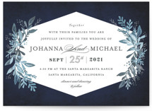 This is a blue wedding invitation by Karidy Walker called Tailored Branches with standard printing on signature in standard.