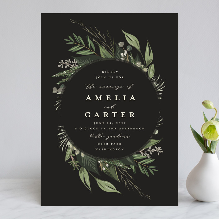 """Natures Greens"" - Wedding Invitations in Ivory by Susan Moyal."