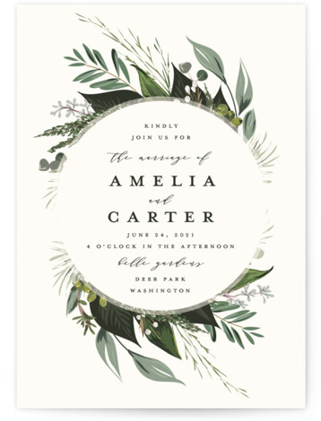This is a white wedding invitation by Susan Moyal called Natures Greens with standard printing on signature in standard.