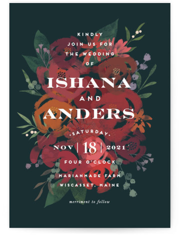 This is a blue wedding invitation by Jennifer Wick called Midnight Garden with standard printing on signature in standard.