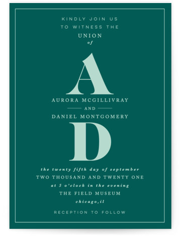 This is a portrait classic and formal, monogram, simple and minimalist, green Wedding Invitations by Nazia Hyder called Prelude with Standard printing on Signature in Classic Flat Card format. Classic and type based design, perfect for a formal affair.