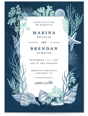 This is a portrait blue Wedding Invitations by Paper Sun Studio called Deep Blue with Standard printing on Signature in Classic Flat Card format. This aquatic ocean wedding invitation features various seashells, seaweed and coral in a scientific vintage look. ...