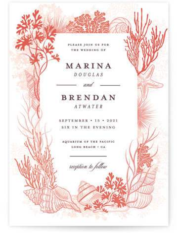 This is a portrait orange Wedding Invitations by Paper Sun Studio called Deep Blue with Standard printing on Signature in Classic Flat Card format. This aquatic ocean wedding invitation features various seashells, seaweed and coral in a scientific vintage look. ...