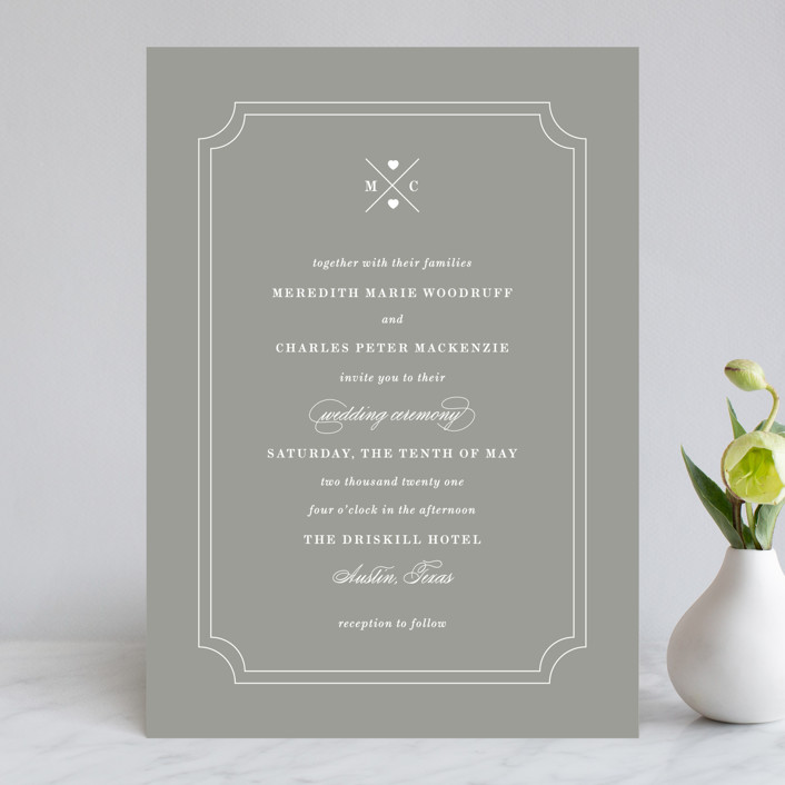 """Framed Details"" - Monogram Wedding Invitations in Pebble by Kimberly FitzSimons."