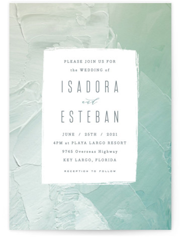 This is a green wedding invitation by Hooray Creative called Painted Sea with standard printing on signature in standard.