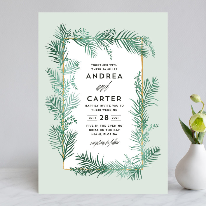 """Destination"" - Wedding Invitations in Palm by Pink House Press."