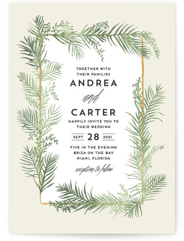 This is a portrait botanical, beige, green Wedding Invitations by Pink House Press called Destination with Standard printing on Signature in Classic Flat Card format. With watercolor palms surrounding modern type, this wedding invitation would be perfect for a tropical ...