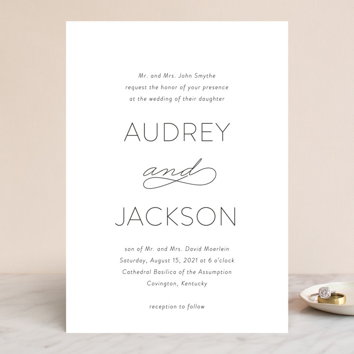 """""""Forever And"""" - Wedding Invitations in Black Tie by Kim Dietrich Elam."""