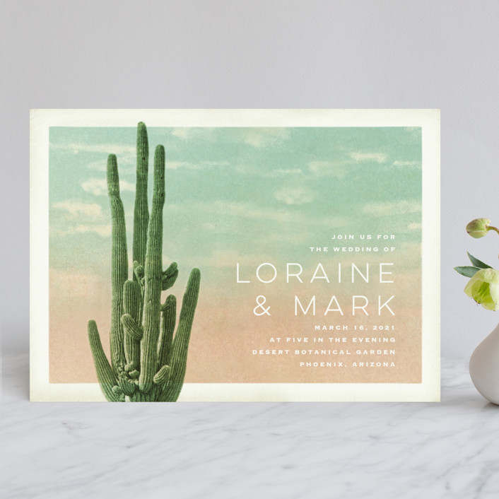 """Postcard from the Desert"" - Modern, Destination Wedding Invitations in Sunset by Pink House Press."