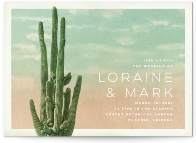 This is a green wedding invitation by Pink House Press called Postcard from the Desert with standard printing on signature in standard.