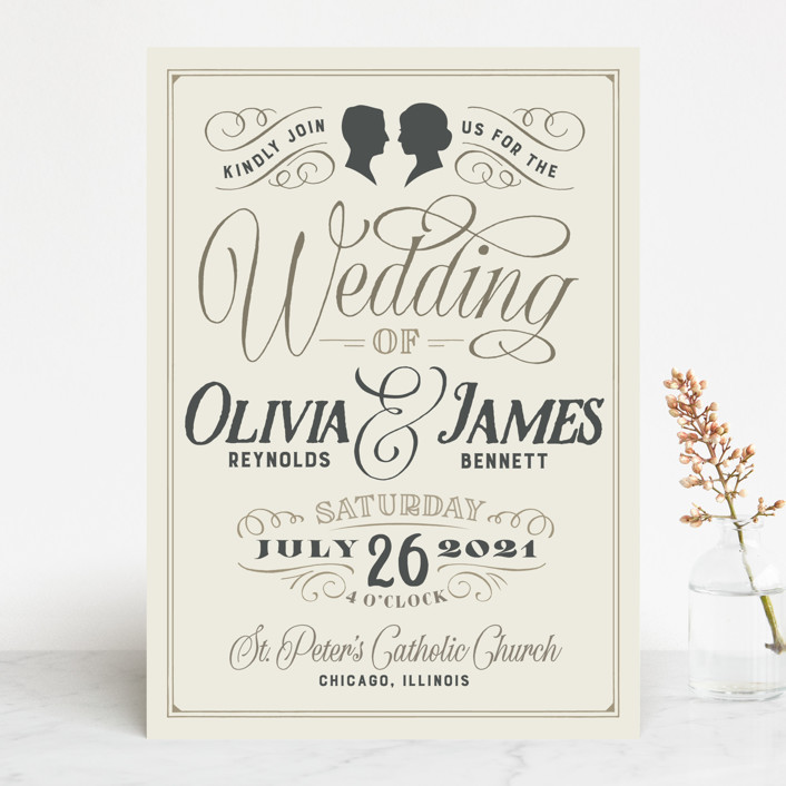 """""""Vintage Silhouettes"""" - Wedding Invitations in Champagne by Jessie Steury."""