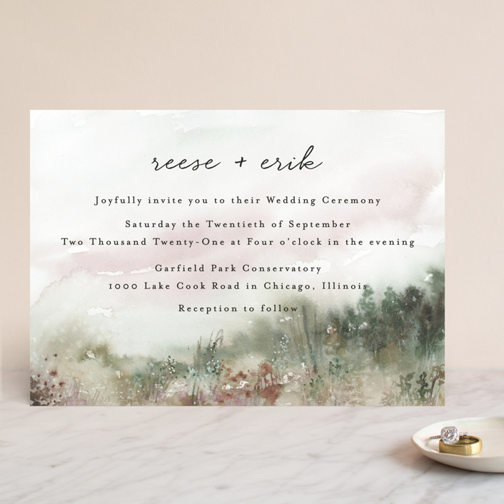 """Sweet Setting"" - Rustic Wedding Invitations in Carnation by Lindsay Megahed."