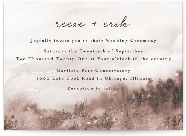 This is a landscape botanical, rustic, brown Wedding Invitations by Lindsay Megahed called Sweet Setting with Standard printing on Signature in Classic Flat Card format. Hand painted watercolor background creates a sweet setting for this modern wedding invite.