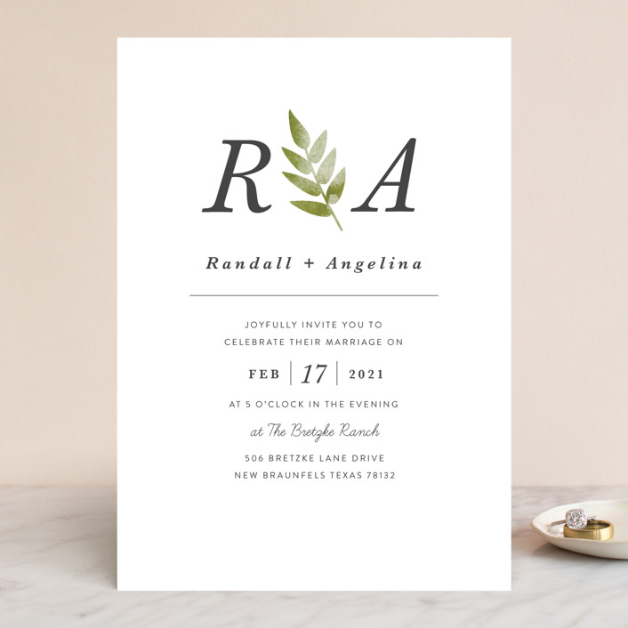 Watercolor Leaf Wedding Invitations In Porcelain By Hanna