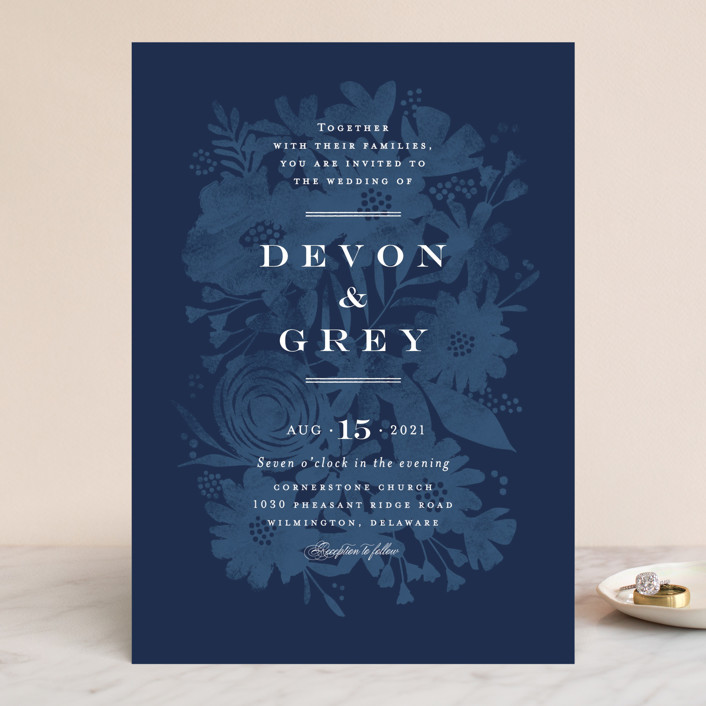"""Floral screenprint"" - Wedding Invitations in Navy by Jennifer Wick."