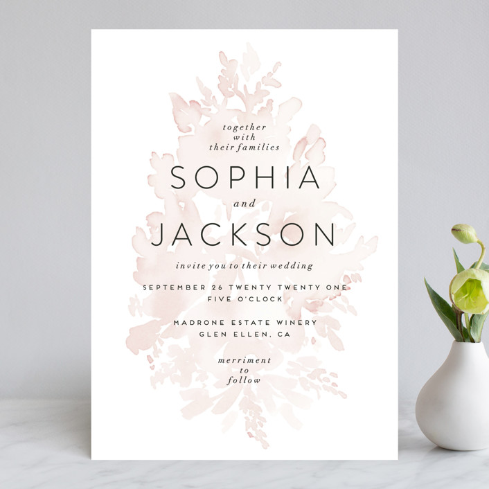 """""""Ethereal Bouquet"""" - Wedding Invitations in Blush by Petra Kern."""