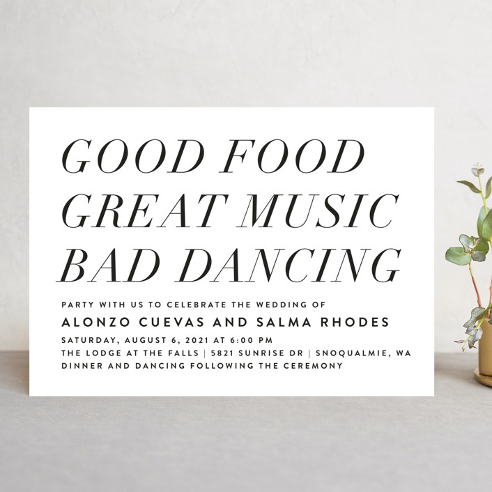 """Bad Dancing"" - Wedding Invitations in Dove by Amy Payne."