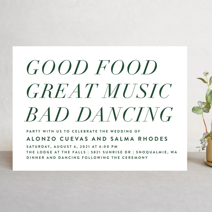 """""""Bad Dancing"""" - Wedding Invitations in Dove by Amy Payne."""