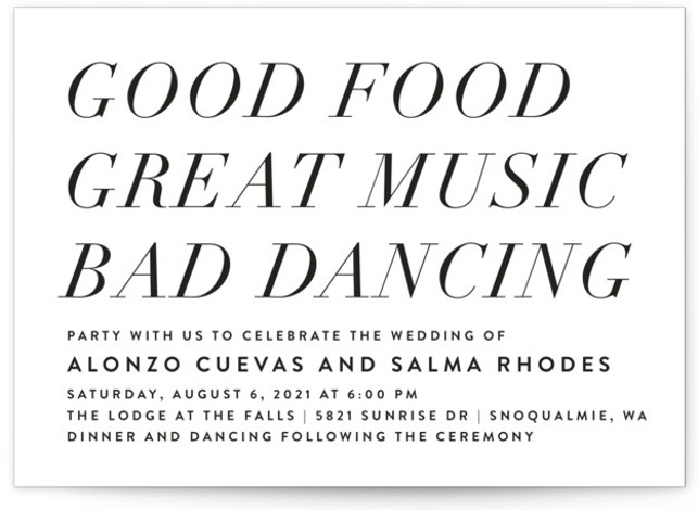 This is a black and white wedding invitation by Amy Payne called Bad Dancing with standard printing on signature in standard.