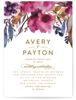 This is a purple wedding invitation by Creo Study called Fall romance with standard printing on signature in standard.