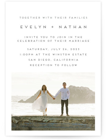 This is a white wedding invitation by Nicole Walsh called Grounded in Love with standard printing on signature in standard.