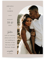This is a beige wedding invitation by Elly called the arch with standard printing on pearlescent in standard.