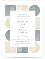 This is a grey wedding invitation by Paden Gillette called abstract shapes with standard printing on signature in standard.