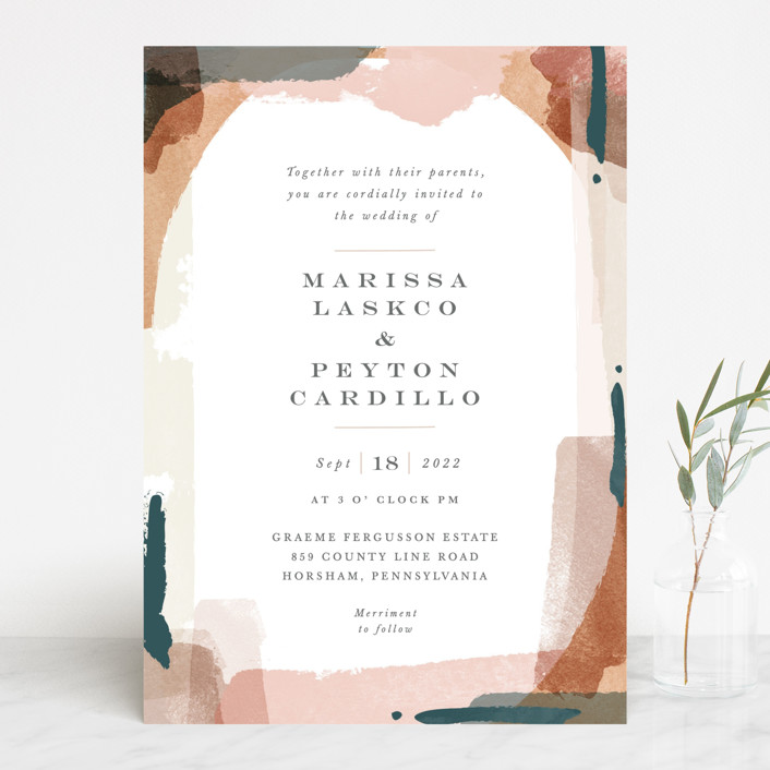 """Overlapping"" - Modern Wedding Invitations in Blush by Jennifer Wick."
