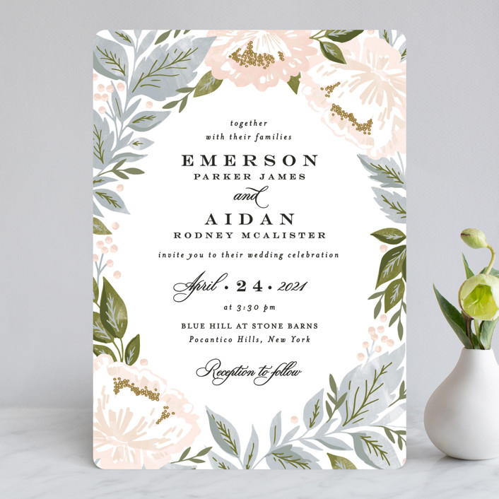Peony Floral Frame Customizable Wedding Invitations In Blue By Alethea And Ruth