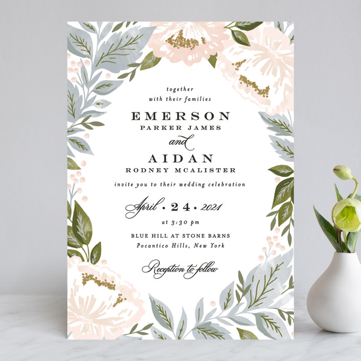 Peony Floral Frame Wedding Invitations by Alethea and Ruth | Minted